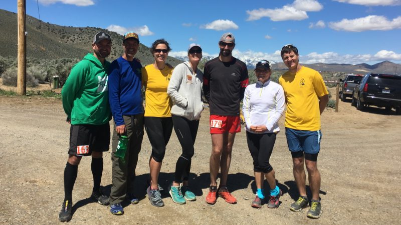 Coach Peter Fain and some of his Run on Dirt athletes at Escape from Prison Hill Half Marathon.